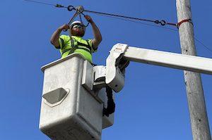 man installing broadband